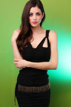 Black Gold Faceted Beaded Chain Link Belt