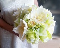 Silk and satin flowers wedding BOUQUET lime green cream Flowers ROSES, satin Handle,  Bridesmaids, custom - pinned by pin4etsy.com