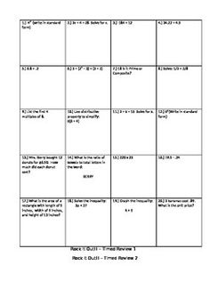This is a test prep practice that I use with my 6th graders.  It covers the common core standards for 6th grade math.  Each Rock it Out Review has 20 boxes with different quick questions that align with the standards.  I give my students 5 minutes to complete the 20 boxes to see how many they complete in that time and who has the most correct. (Similar to a timed test).