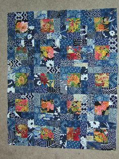 66 Ideas For Patchwork Patterns Squares Sewing Scrap Batik Quilts, Blue Quilts, Scrappy Quilts, Easy Quilts, Rag Quilt, Japanese Quilt Patterns, Japanese Patchwork, Scrap Quilt Patterns, Japanese Fabric