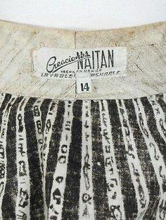 Vtg 50s Mexican Handpainted Aztec Symbols Novelty Print Sequin Circle Skirt