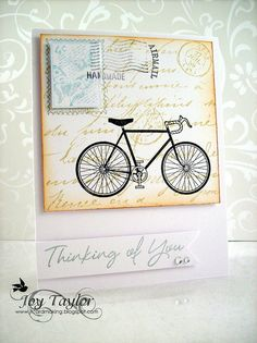 Joy's card really inspired me.... I done use the bicycle stamps enough.
