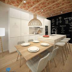 💕 💕 🤩 🤩 Project of reform of a kitchen in calle Caldern de Barcelona - Grupo Inventia Kitchen Room Design, Modern Kitchen Design, Kitchen Layout, Living Room Kitchen, Interior Design Kitchen, Kitchen Decor, Kitchen Island For Dining, Modern Kitchen Island, Open Plan Kitchen