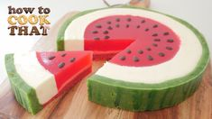 This is my Watermelon Cheesecake with fresh watermelon in the jello and chocolate pips. A perfect dessert for National Watermelon Day on August Hope you enjoy it, Ann Reardon (HowToCookThat). The video tutorial is here:. Watermelon Jelly, Watermelon Recipes, Rainbow Jelly, Rainbow Heart, Jello Recipes, Cake Recipes, Dessert Recipes, Dessert Cups, Health Desserts