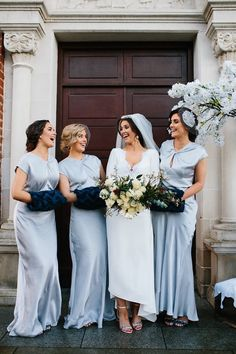 A round-up of real weddings with chic style, gorgeous details and a whole lot of love - this line-up is proof that no two weddings are made the same! Winter Bridesmaid Dresses, Winter Bridesmaids, Velvet Bridesmaid Dresses, Black Bridesmaids, Bridesmaid Dress Styles, Wedding Dresses, Bridesmaid Inspiration, Winter Wedding Inspiration, Style Inspiration