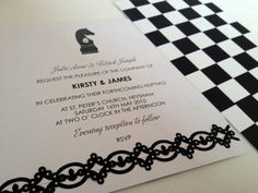 Wedding stationery chess design invitation with pearl studs