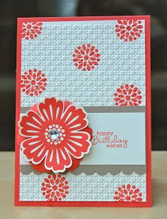 handmade card ... Mixed Bunch flower and flower centers ... clean and simple layout ... bright and pretty look with red inking ... Stampin' Up!