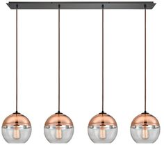 Pendant with clear glass, plated copper on top, and an oil rubbed bronze finished hardware. - Clear Glass Shades With Copper Plated Tops - Shade Material: Glass Elk Lighting - Linear Pendant Lighting, Multi Light Pendant, Contemporary Pendant Lights, Kitchen Pendant Lighting, Elk Lighting, Ceiling Pendant, Ceiling Lights, Modern Contemporary, Pendant Lamp