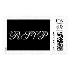 Formal Wedding RSVP Black White Elegant Font Postage