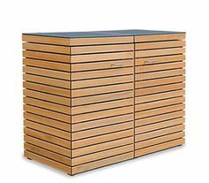 2 x 120 - 240 Liter Mülltonnenbox Holz CUBUS - FSC Hartholz Natur geölt - Wunderschöne Mülltonnenverkleidung aus astfreiem Holz mit einer bestechend schönen Optik. Jeweils 2x Gasdruckfeder / Deckel sorgen für viel Komfort - Mülltonnenbox / Müllbox für beliebig viele Stellplätze - Das Mülltonnenboxen Baukastensystem für den anspruchsvollen Hausbesitzer. #Müllbox #Mülltonnenbox #Mülltonnenverkleidung