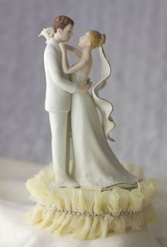 tulle and rhinestones ivory porcelain bride and groom wedding cake topper traditional wedding cake toppers