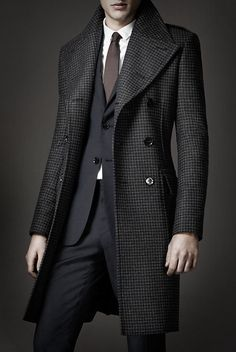 Burberry Prorsum hounds tooth great coat. Very sexy 70's silhouette.