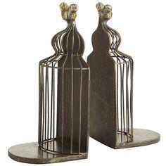 Bird cage bookend set