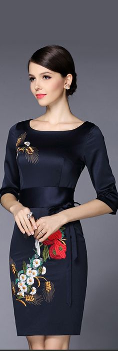 Black Embroidery Half Sleeves Dress
