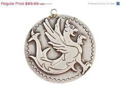 On Sale Large Vintage Mexican 980 FINE Sterling Silver Figural Medallion Pendant
