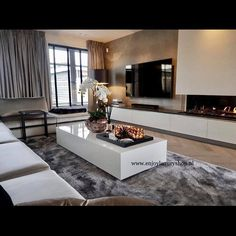 Classic luxury living room with table chairs and showcase Living Room Decor Fireplace, Living Room Decor Cozy, Home Fireplace, Living Room Modern, Home Living Room, Interior Design Living Room, Home Room Design, Living Room Designs, House Design