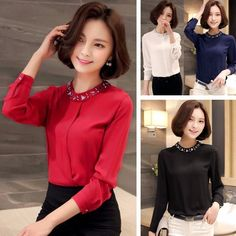 Korean Women Casual Long Sleeve Chiffon Tops Casual Beads Blouses Solid Shirts #Unbranded #Blouse #Casual