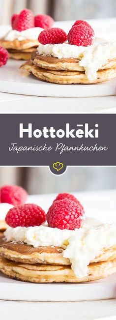 There is Hottokēki! Especially airy, Japanese pancakes - Pfannkuchen, Pancakes & Crêpes - Cheesecake The Cheesecake Factory, No Bake Treats, No Bake Desserts, Dessert Recipes, Pancakes Easy, Pancakes And Waffles, Greek Yogurt Pancakes, Cake Vegan, Japanese Pancake