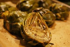 This oven roasted artichoke recipe is a superb crowd pleaser! They are becoming more readily available in the stores now, and have become a weekly favorite.