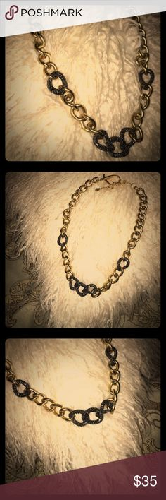 ✨Gold Chain Necklace✨ ✨Gold Chain Necklace with Gray Rhinestone accents✨ Only worn a couple times. Very cute & edgy.💄 Large easy-to-use clasp.✨ Still in great shape. No signs of wear. Clean & ready to ship📦 Add to a bundle🛍 Always open to offers🤗 Jewelry Necklaces
