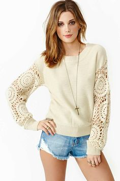 Day Tripper Crochet Knit...Salvation army plain shirt crochet sleeves