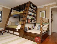 triple bunk beds with stairs
