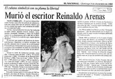 Murió el poeta cubano Reinaldo Arenas. Publicado el 09 de diciembre de 1990.