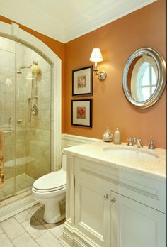 Jennifer Bouwer Decor By Jennifer Inc, Traditional Bathroom, Toronto Wall color:) Orange Bathrooms, Bathroom Colors, Traditional Bathroom Designs, Traditional Bathroom, Bathroom Interior, Bathroom Decor, Beautiful Bathrooms, Downstairs Bathroom, Bathroom Interior Design