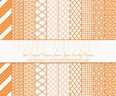 Just Peachy Designs: Free Orange and White Digital Paper Set