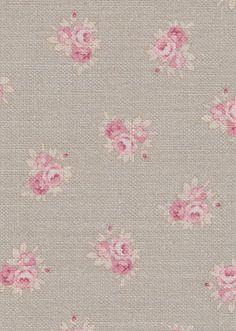Peony & Sage Posies ~ Clay Background onCream Linen ~ £54pm - Peony & Sage
