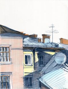 Hey, I found this really awesome Etsy listing at https://www.etsy.com/listing/263490306/roofs-in-lviv-original-urban-sketch