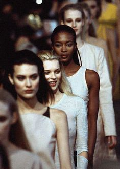 Shalom Harlow, Kate Moss, Naomi Campbell  Esther De Jong @ Helmut Lang Fall/Winter 1996.