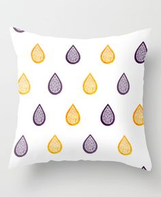 """Yellow and purple raindrops"" Throw Pillow by Savousepate on Society6 #throwpillow #pillow #homedecor #pattern #zentangles #raindrops #rain #drops #water #white #yellow #purple"