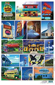 Combination of Pensacola and Pensacola Beach Icons in this poster, 18x24 or 11x17