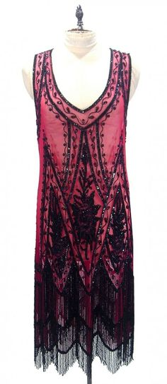 Black Red 1920's JAZZ BABY Beaded Flapper Gatsby Fringe Gown by Deco Haus on Etsy, $399.95