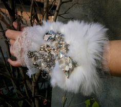 steampunk cuff bracelet with faux fur & upcycled jewelry #goth #victorian $89.00, via Etsy.