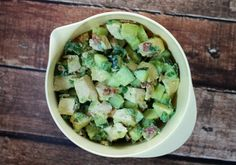 Cool, crisp cucumbers, chunks of rich avocado, a bit of creamy mayonnaise, the bright flavor of lime, a sprinkle of green onion and cilantro, and the smoky taste of bacon take this hearty and low carb Avocado Chicken Salad to the next level. Only 231 calories or 6 Weight Watchers points per cup! www.emilybites.com