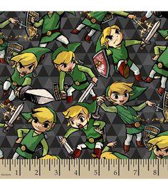 Nintendo® The Legend of Zelda™ Sword and Shield Flannel Fabric