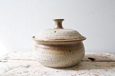 Brown Bowl Lid Glazed Handmade Vintage Ceramic by whiskyginger, $56.00