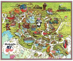 Vintage Worlds of Fun - Souvenir Park Map Poster - Kansas City, Missourri - 1976 Theme Park Map, Halloween Borders, Silver Dollar City, Kansas City Missouri, Worlds Of Fun, Vintage Halloween, City Photo, Poster, Oceans