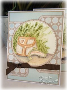Gone Fishing by Lisa Ku - handmade Father's Day Card using Stampin Up Gone Fishing stamps (1998) and Wetlands. DP is Heidi Grace, Catra Bella and Donna Salazar. Technique is no line watercolor using Derwent watercolor pencils and an aqua pen.