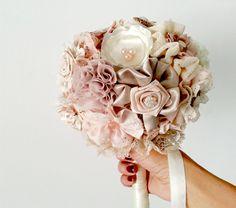 Blush wedding  Bouquet Fabric Bridal Bouquet by MySecretFace, $190.00