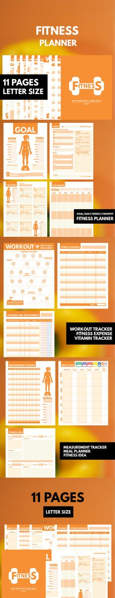 Fitness Planner Printable ▹ for who want to stay healthy and be active everyday! Printable PDF Files  This is COMPLETE planner for helping you reaching the Fitness Plan. It contain everything you need while being Fit Girl such as Daily, Weekly, Monthly Fitness Planner, Measurement Goal, Measurement tracker Workout tracker, Fitness idea and etc.