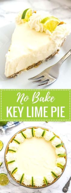 No Bake Key Lime Pie is a delicious, easy summer dessert made with only a few, simple ingredients! An easy-to-prep NO-BAKE lime cake recipe that is perfect for when you just CANNOT turn your oven on i (Simple Ingredients Desserts) Easy Summer Desserts, Easy No Bake Desserts, Easy Desserts, Baking Desserts, Lime Dessert Recipes Easy, Lime Recipes Baking, Easy Few Ingredient Desserts, Cooking Recipes, Awesome Desserts