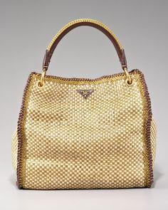 Fendi One + One Drawstring-Top Raffia Bag