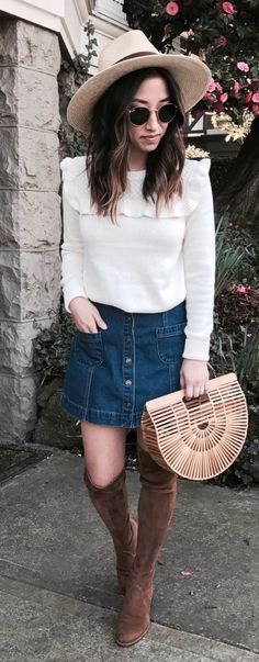 #spring #outfits White Ruffle Knit & Denim Skirt & Wood Clutch & Brown Velvet OTK Boots