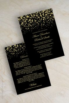 Modern, polka dots, starry night, twinkling lights, glitter wedding invitations shown in black and vegas gold. www.appleberryink.com