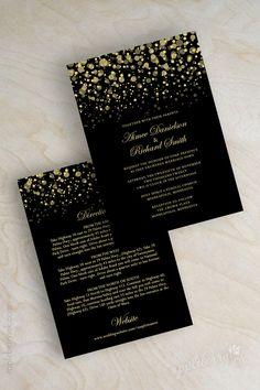 Modern, polka dots, starry night, twinkling lights, glitter wedding invitations shown in black and vegas gold. www.appleberryink.com
