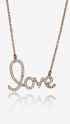 Rose Gold Micropave 'Love' Pendant Necklace