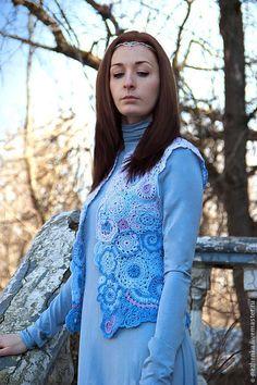 """Купить Вязаный жилет """"Fantasy"""" - голубой, орнамент, жилет, жилетка, жилетка вязаная, вязаный крючком"""